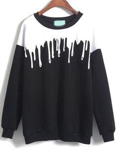Color Block Loose Black Sweatshirt