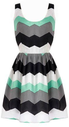Chevron Dress In Mint //