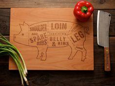Wooden Pork/Pig Butcher Diagram Cutting Board - 12x16 - Laser Engraved - i love pork!