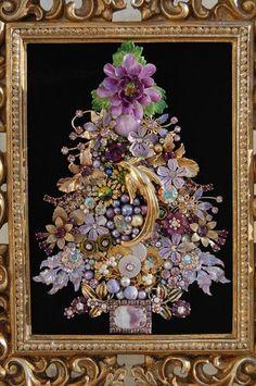 Framed Vintage Jewelry Art Tree of Life Christmas Tree Purples | Vintage jewelry art, Vintage ...
