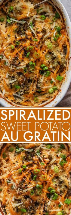 Four Kitchen Decorating Suggestions Which Can Be Cheap And Simple To Carry Out Spiralized Sweet Potato Au Gratin With Kale Is The Perfect Side Dish - It's Creamy, Hearty And Delicious Via Platingspairing Asian Side Dishes, Healthy Side Dishes, Side Dish Recipes, Dinner Recipes, Party Recipes, Potato Recipes, Vegetable Recipes, Vegetarian Recipes, Healthy Recipes
