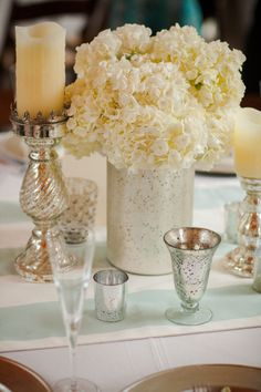 Mercury glass + mint striped linen. Photography by woodlandfieldsphotography.com, Planning by savoirfaireweddings.com, Floral   Event Design by floralsbythesea.com