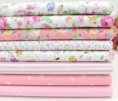 Pink Cotton Fabric For Quilting & Patchwork (8 Piece Lot)