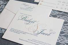 Formal Ampersand Wedding Invitation Suite -  Shimmery Gold and Navy - Classic, Contemporary - Custom Colors - Bridget and Jacob  Custom wedding invitations  Invited by LamaWorks every invitation deserves to be custom