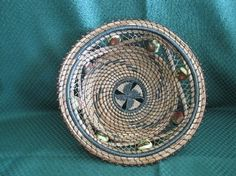 pine needle basket with beads