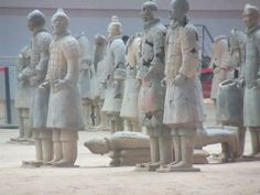 My favorite set of Terracotta Soldiers (love the one laying down).    In Xian.