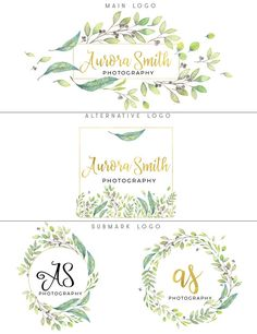 Greenery logo design Watercolor logo branding package Floral