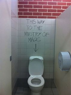 Hahaha Harry Potter humor. VAndalizing bathrooms right!