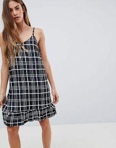 816dd31b4a Daisy Street Cami Dress with Frill Hem in Check Print