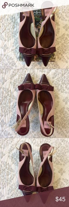 Coach Tianna Slingback Heels Size 6.5B Coach Tianna Slingback Heels Size 6.5B. Pink suede, burgundy Italian leather. Thin heel. Good condition, minimal scuffing on soles , heel and point of one toe. Very pretty shoes with lots of life left in them. Bundle for additional discounts and seller offers. Coach Shoes Heels