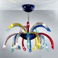 Multi-colored Murano glass ceiling lamp