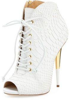 Giuseppe Zanotti Lace-Up Python-Print Leather Bootie, White on shopstyle.com