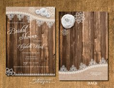 Rustic Bridal Shower Invitation. Lace Detail by ElizabethBalint, $15.00