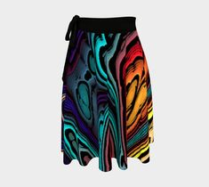 Abstract loops,colorful , Wrap Skirt by Claudia. Full circle one-size skirts in either crepe or jersey fabric. Print Wrap, Artwork Prints, Body Types, Colorful, Abstract, Fabric, Skirts, Clothes, Design