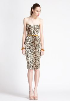 strapless leopard--love the dress, but she needs a tan or maybe its her posture...or maybe I should wear it :)