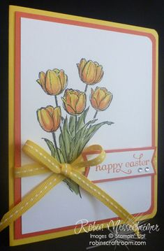"""My favorite Stampin' Up! Tulip Stamp - Blessed Easter - had only 3 tulips. I wanted MORE! So I used a simple masking technique to stamp all five of these tulips on the same piece of cardstock. No fussy cutting - just simple stamping. Oh, and a bit of coloring, too, as I chanelled my inner 4th grader! Definitely a """"Happy"""" Easter Card! For more about how I did this, go to my blog, http://robinscraftroom.com/stamping/more-masking-for-easter/"""