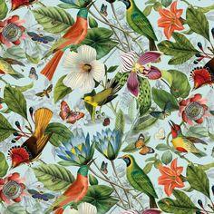 Tropical Fabric, Floral Fabric, Blue Fabric, Cotton Fabric, Tropical Birds, Woodland Fabric, Secret Escapes, Fabric Birds, Wall Design
