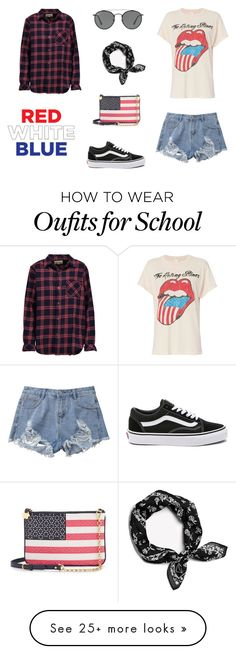 """""""Stars and Stripes Forever"""" by daria-alexandra-711 on Polyvore featuring MadeWorn, Current/Elliott, Vans, Ray-Ban and Draper James"""