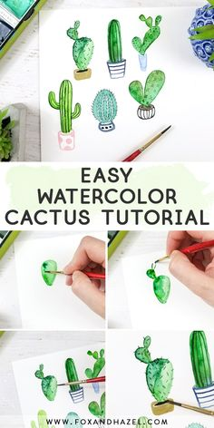 Come learn how to paint a watercolor cactus 6 different ways! Perfect for beginners and novices alike with lots of step-by-step photos! #foxandhazel #watercolor #watercolorcactus #watercolorcacti #beginnerwatercolor #cacti #cactusillustration #learntopaint #cactuspainting