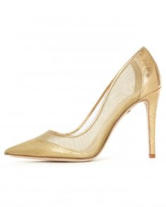 "Diane Von Furstenberg ""Bianca"" mesh and leather pump in gold (available at Nordstrom)."