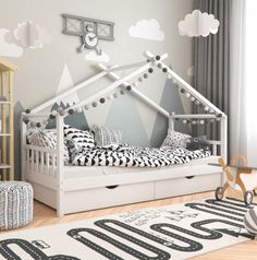 Montessori Children's Floor Bed Frame With Rails and Under Bed Storage - White - Montessori Children& Floor Bed Frame With Rails and Under Bed Storage – Rare Epoch - Kids Wooden House, House Beds For Kids, Kid Beds, Toddler House Bed, Toddler Bed Tent, Cool Toddler Beds, Toddler Floor Bed Frame, Baby Floor Bed, Toddler Bed With Storage