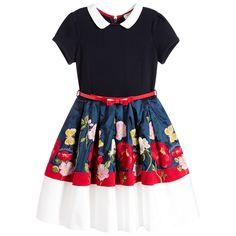 Monnalisa Bimba - Girls Blue Embroidered Flower Dress | Childrensalon