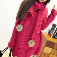 Women Sweater Long Sleeve Solid Knit Pullovers With Scarf Large Size Casual…