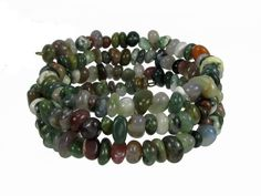 Indian Agate Pebbles, Stone for Inner Balance, Memory Wire Bracelet #bcg201