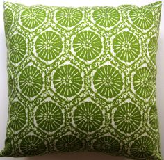 Green Pillow Cover - Shell Pillow - Modern Pillow - Decorative Pillow - Beach Pillow - 18 Inches Square on Etsy, $22.00