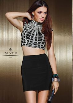 Alyce Claudine 2489 Dare to dazzle in this gorgeous silver beaded bodice two piece cocktail dress. With a high neck crop top and a matching slim fitting jersey skirt, be one of a kind at your next homecoming or fun night out! Best Formal Dresses, Dressy Dresses, Short Dresses, Two Piece Cocktail Dresses, Short Cocktail Dress, Crop Top Dress, Sexy Gown, Jersey Skirt, Long Evening Gowns