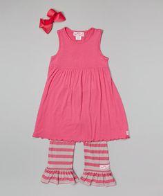 Loving this Pink Ruffle Sleeveless Dress Set - Infant, Toddler & Girls on #zulily! #zulilyfinds