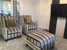 Fabulous Harlequin Momentum Plush 1 fabrics on the two arm chairs and foot stool compliment the black and ivory tiles on the chimney breast.