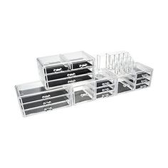 Unique Home Acrylic Jewelry Cosmetic Storage Makeup Organizer, 5 Piece... ($46) ❤ liked on Polyvore featuring home, home decor, jewelry storage, acrylic makeup storage organizer, jewellery box, makeup storage organizer, acrylic home decor and acrylic makeup organizer