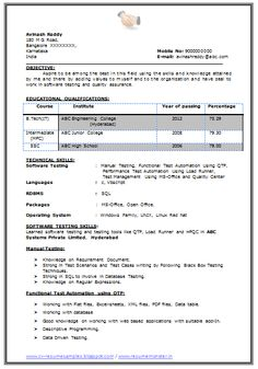 b tech resume fresher no experience free download 1