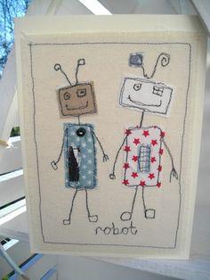 Birthday Robot Cards, Handmade, Hand sewn Card ,Textile Card, Boys Birthday Card