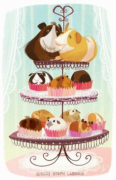 I love Guinea Piggies & cupcakes, but I hope those babies are all fostered or adopted :)  this image better not support animal breeding!
