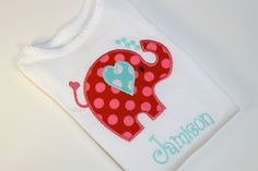 Personalized Children's Valentine Elephant and Hearts Applique Shirt.
