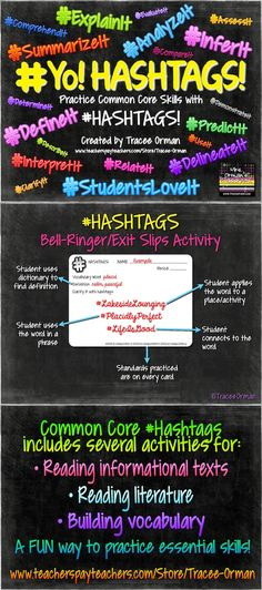 Common Core #Hashtags Reading & Vocabulary Bell Ringer Activities - a fun way to practice the essential skills!