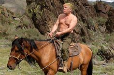 Taken for a ride: Vladimir Putin and Mr Peskov are seen riding a horse in another of the m.