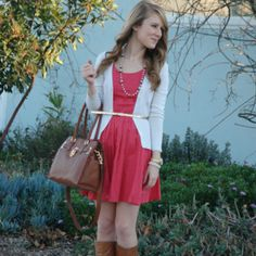 OR this style of cardigan... Lauren Conrad Dress and Sweater and Calvin Klein Bag and J.Crew Necklace