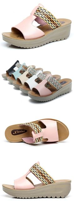 US$35.87 Leather Wedges Slippers Colorful Stripe Platform Sandals