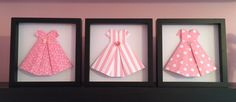 Set of 3 Paper dress, 3d Paper art, origami folded address, perfect for your little girls room by PaperLine on Etsy https://www.etsy.com/listing/264568738/set-of-3-paper-dress-3d-paper-art