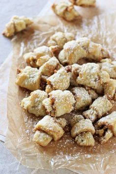My grandma's butter horns - or brown sugar walnut rugelach - are perfect for the holidays! Made with sour cream instead of cream cheese, these buttery, slightly sweet cookies are oh-so-popable! Buttery Cookies, Sweet Cookies, Xmas Cookies, Yummy Cookies, Sweet Treats, Walnut Cookies, Cookie Desserts, Just Desserts, Delicious Desserts
