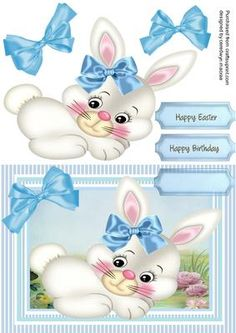Lovely Blue Baby Bunny on Craftsuprint - Add To Basket!