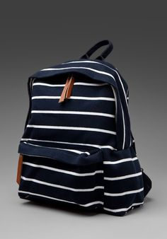 Navy and White striped backpack by Brandy Melville Cute Backpacks, School Backpacks, Teen Backpacks, Leather Backpacks, Leather Bags, Striped Backpack, Backpack Purse, Canvas Backpack, Designer Handbags