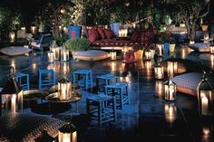 The fabulous Moroccan style garden lounge at Skybar / Shore Club Miami    ...my ideal backyard. i fell in love when i sat down on the oversized couch and looked up and saw lanterns hanging from the trees