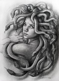 "Saatchi Art is pleased to offer the drawing, ""Medusa. Denis Nunez,"" by Hanoi Martinez. Original Drawing: N/A on Cardboard. Medusa Drawing, Medusa Art, Medusa Gorgon, Medusa Head, Payasa Tattoo, Ozzy Tattoo, Medusa Tattoo, Body Art Tattoos, Tatoos"