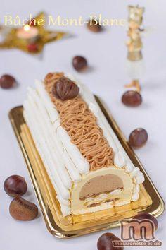Bûche Mont Blanc - Macaronette et cie - Joanne Millet - Pint Xmas Food, Christmas Desserts, Christmas Baking, Tres Chocolates, Yule Log Cake, Pastry School, Pastry Design, Fancy Cakes, No Bake Cake