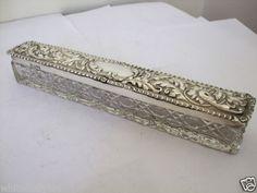 Fine Antique Repousse Silver Lidded hatpin Hat Pin Box Chester 1904 Art Nouveau