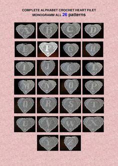 , home decor 26 pattern crochet doily filet alphabet complete heart. Filet Crochet Name Pattern, Crochet Lace Edging, Crochet Doily Patterns, Crochet Diagram, Crochet Chart, Diy Crochet, Crochet Doilies, Crochet Alphabet, Crochet Letters